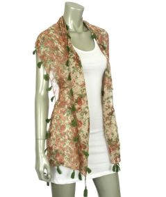 Reversible Tasseled flower Shawl Green